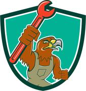 Hawk Mechanic Pipe Spanner Crest Cartoon. Piirros