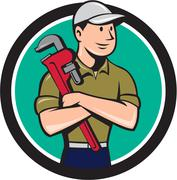 Plumber Arms Crossed Circle Cartoon Stock Illustration