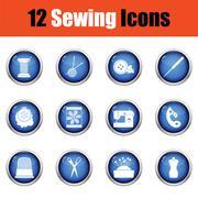 Set of twelve sewing icons. Stock Illustration