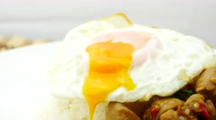 Silverware impale fried egg, Fried Rice Pork and fried egg Stock Footage