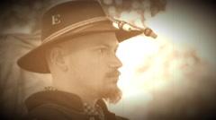 Civil War soldier wearing regimental hat (Archive Footage Version) Stock Footage