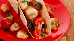 Big mexican taco with soup and vegetables Stock Footage