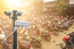 CCTV camera operating in car or motorcycle parking ,Concept Security in condo Kuvituskuvat