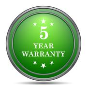 5 year warranty icon. Internet button on white background.. Stock Illustration