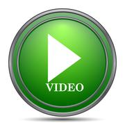 Video play icon. Internet button on white background.. Stock Illustration