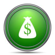 Dollar sack icon. Internet button on white background.. Stock Illustration