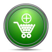 Add to shopping cart icon. Internet button on white background.. Stock Illustration