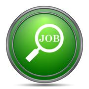 Search for job icon. Internet button on white background.. Stock Illustration
