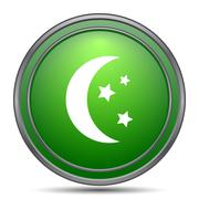 Moon icon. Internet button on white background.. Piirros