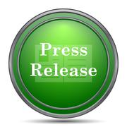 Press release icon. Internet button on white background.. Stock Illustration