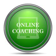 Online coaching icon. Internet button on white background.. Stock Illustration
