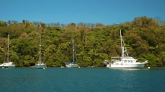 Sailing past yachts in front of tropical island with palm trees Stock Footage