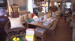 View inside an attractive home goods shop Stock Footage