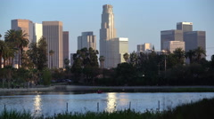 Los Angeles Echo Park Sunset 02 Reflections on Pond 4K Stock Footage