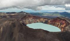 Maly Semyachik is a stratovolcano with acidic crater lake. Kronotsky Nature Stock Photos