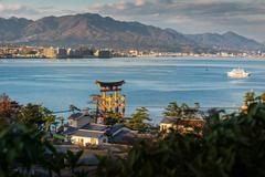 High Angle View of Great floating gate (O-Torii) and Hiroshima city view from Stock Photos