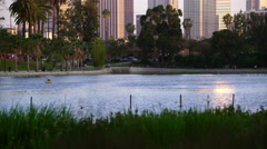 Los Angeles Echo Park Sunset 05 Reflections on Pond 4K Stock Footage