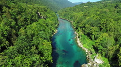 Aerial view, flight above mountain river, Flying over Tara river Stock Footage