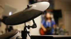 Close Up of Electronic Hi-Hat during Garage Band Practice Stock Footage