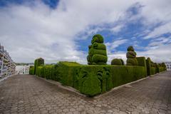 TULCAN, ECUADOR - JULY 3, 2016: some sculptures of the topiary have human Stock Photos
