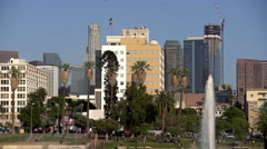 Los Angeles McArther Park Day 02 Palm Trees by Pond 4K Stock Footage