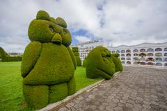 TULCAN, ECUADOR - JULY 3, 2016: animal sculptures located at the side of one Stock Photos
