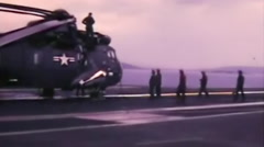 Navy helicopter on aircraft carrier--From 1960's film Stock Footage