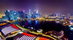 Singapore Night Skyline Stock Footage