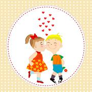 Greeting card with boy and girl kissing Piirros