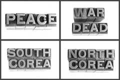 Metal type words peace, war, dead, south corea, north corea Stock Photos