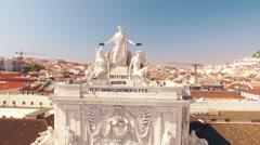 Commerce Square Praca de comercio Lisbon aerial view Stock Footage