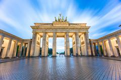 The long exposure view of Brandenburg Gate in Berlin, Germany Stock Photos