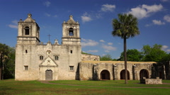 Spanish Mission Concepcion in San Antonio, Texas - Time Lapse Stock Footage