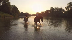 CLOSE UP: Two friends horseback riding in wide river at magical sunset Stock Footage