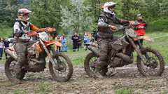 COUNTRY CROSS KTM , Extreme enduro MOTO SPORT Quad bikes Stock Footage