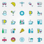 Colorful bar and cafe icons Piirros