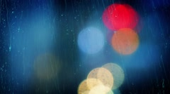Lights Bokeh And Rain Abstract Stock Footage