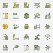 Colorful pollution icons Stock Illustration