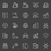Pollution outline white icons Stock Illustration