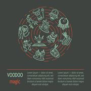 Modern card with voodoo magic vector line icons Stock Illustration