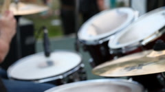 Drum kit closeup drummer plays during live performance Stock Footage