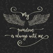Lettering hand drawn quote with angel wings Piirros