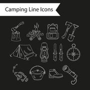 Camping holiday vector line icons Stock Illustration