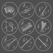 Music instruments thin line icon set for web and mobile Stock Illustration