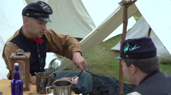 Life for Civil War soldier in a camp Stock Footage