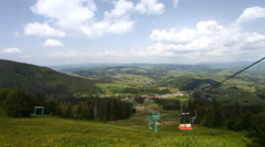 The mountain lift for skiers and hikers in the Carpathians Stock Footage