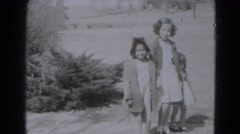 1947: three children walking and playing from the past LINCOLN, NEBRASKA Stock Footage
