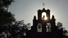 Mission Espada Church Bells and Bird in San Antonio, Texas Stock Footage