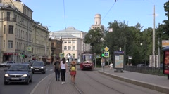 Two-sided tram on temporary route 6A departs from a stop Stock Footage