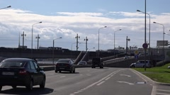 Traffic in the motorway along the Neva River embankment in city center Stock Footage